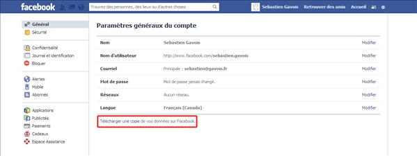 Facebook récupérer informations compte
