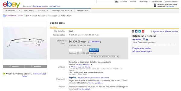 eBay Google Glass 90 000 $