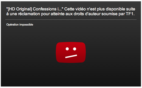 TF1 blocage youtube gaillard