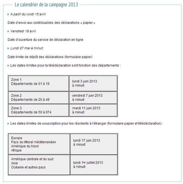 Déclaration Impôts sur le revenu 2013
