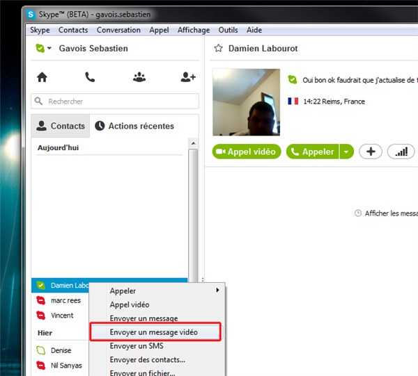 Skype message vidéo