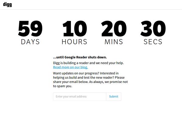 Digg Google Reader Countdown