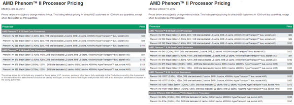 AMD Price list Mai 2013