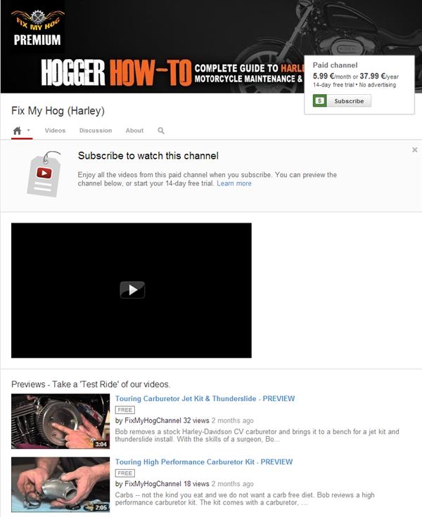 YouTube Chaînes payantes