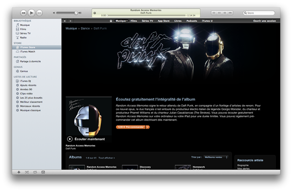 Random Access Memories iTunes Store Daft Punk