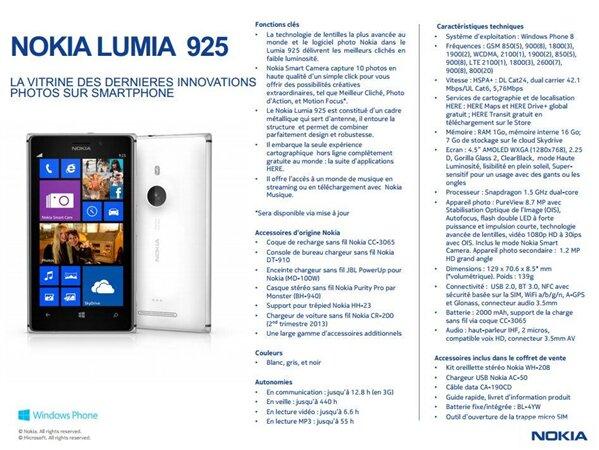 Nokia Lumia 925 fiche technique