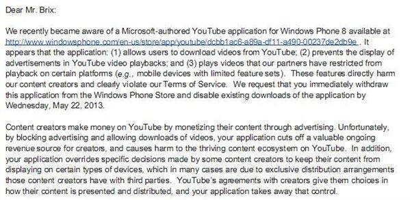Google lettre YouTube Windows Phone 8