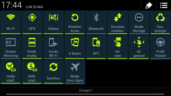 raccourcis Galaxy S4