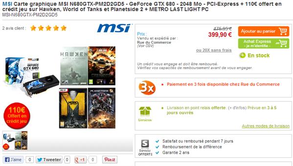 GeForce GTX 680 Baisse