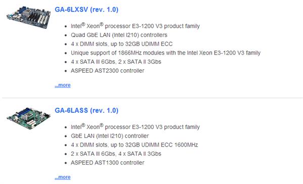 Gigabyte Xeon E3 1200 v3