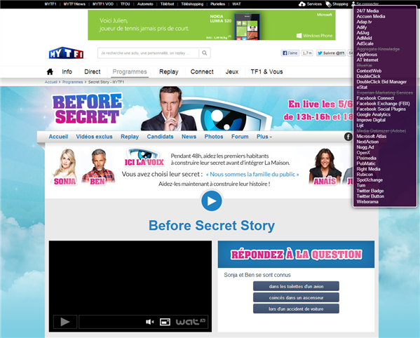 MyTF1 Connect Secret Story Web