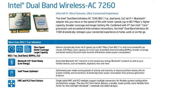 Wi-Fi 802.11ac Intel AC 7260