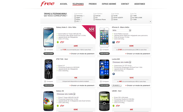 Free Mobile smartphones