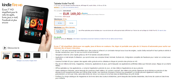 Kindle fire HD baisse