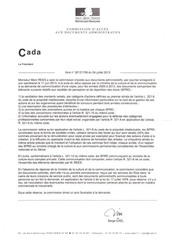 CADA copie privée ministère de la Culture