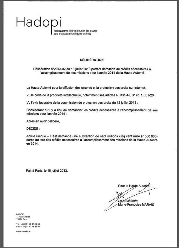 hadopi subvention 2014 budget