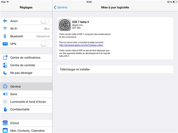 iOS 7 bêta 4