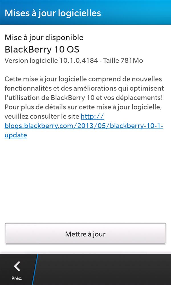 BlackBerry 10.1 Mise à jour