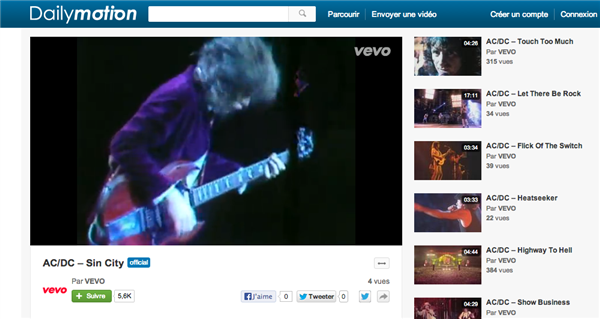 VEVO Dailymotion AC/DC