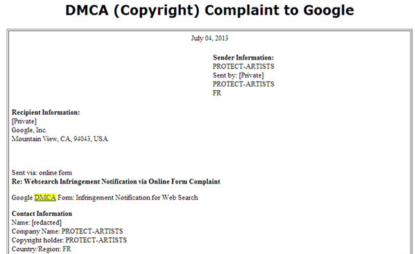 dmca protect artists