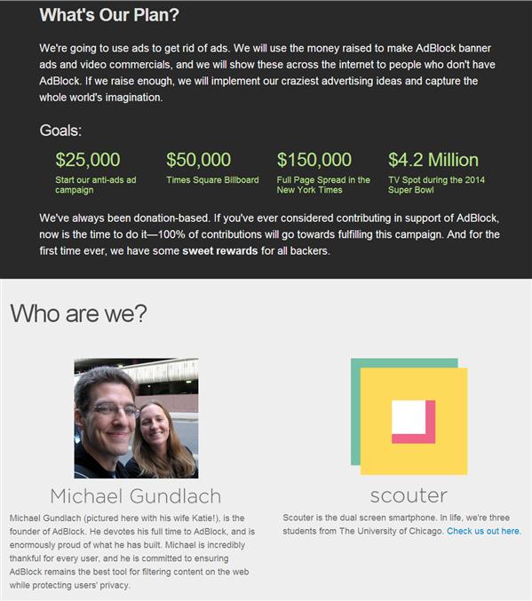 AdBlock Chrome Crowdfunding