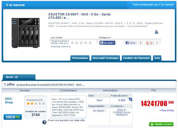 NAS Asustor 14,2 millions euros