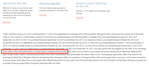 Xbox One Microsoft Store Offre USA