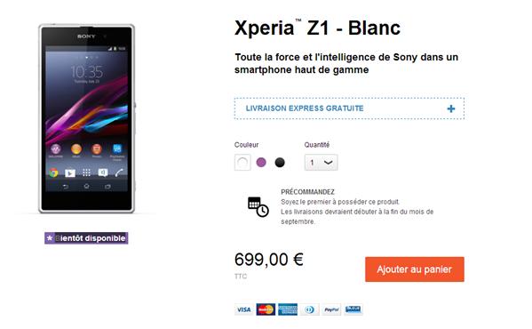 Xperia Z1 précommande Sony