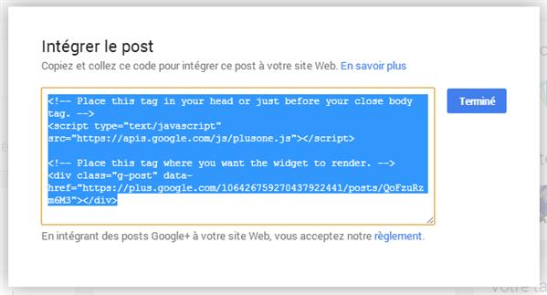 Google+ Intégration de code