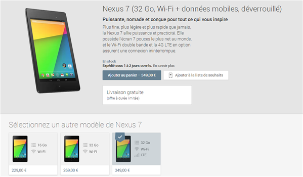 Nexus 7 4G Play Store 349 euros