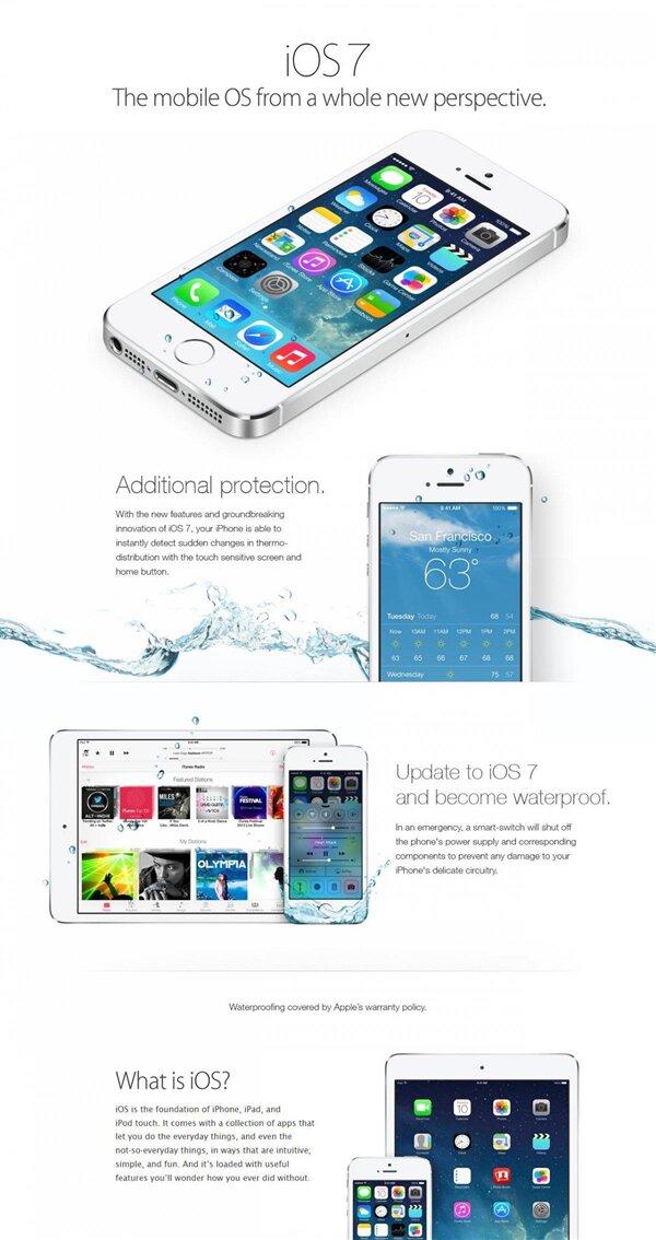 iOS 7 fausse publicité étanche