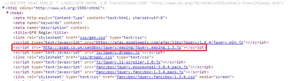 SFR Régie site script hotlinking