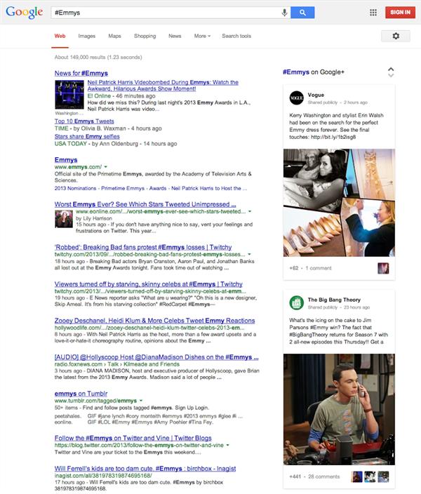Hashtag Google recherche