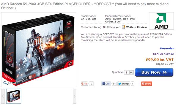 AMD Radeon R9 290X Tarif UK