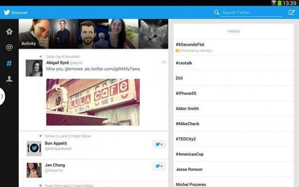 Twitter Tablette