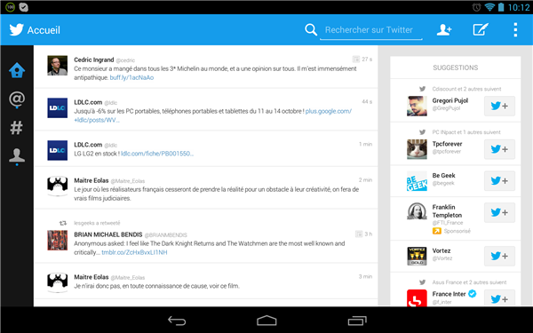 Twitter Android tablette