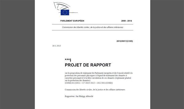 projet réglement données personnelles LIBE
