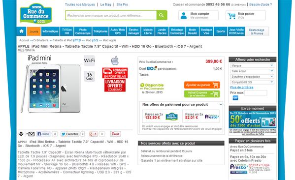 Apple iPad mini Retina Rue du Commerce