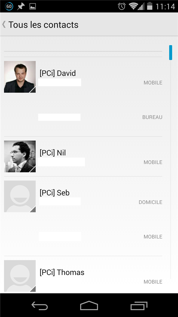 Android 4.4 Contacts