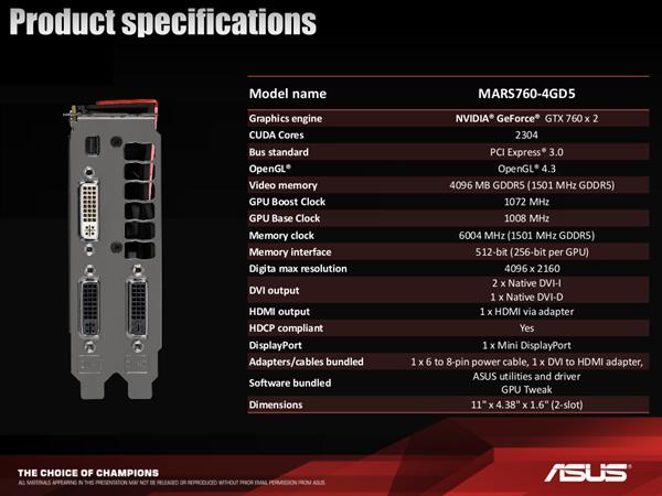 ASUS MARS 760 Specs