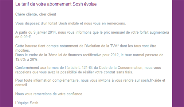 Sosh augmentation 9 centimes