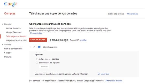 Gmail calendrier archives