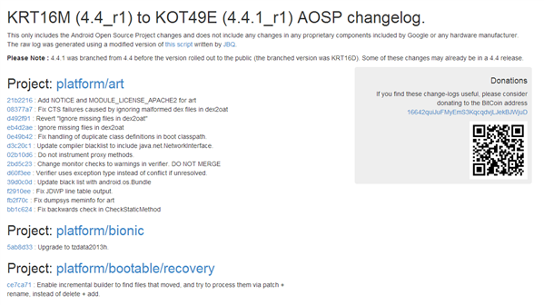 Changelog Android 4.4.1