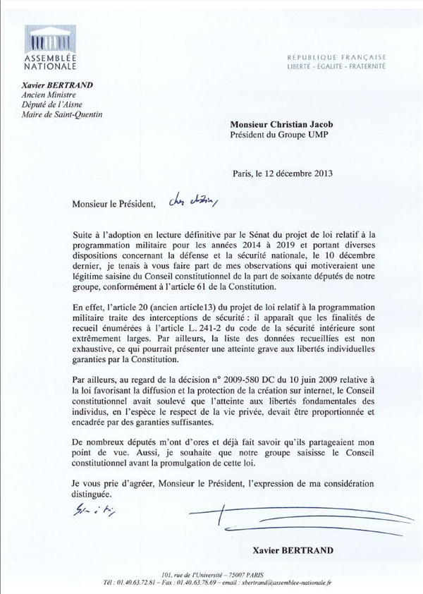lettre xavier bertrand PLPM christian jacob