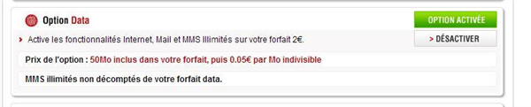 Forfait Free 2 € option data Univers Freebox