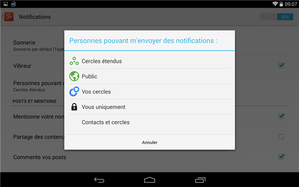Google+ notifications contacts