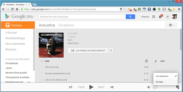 Play Musique Chromecast CR Cast