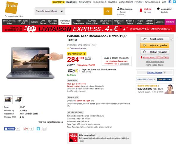 Acer Chromebook C720p fnac