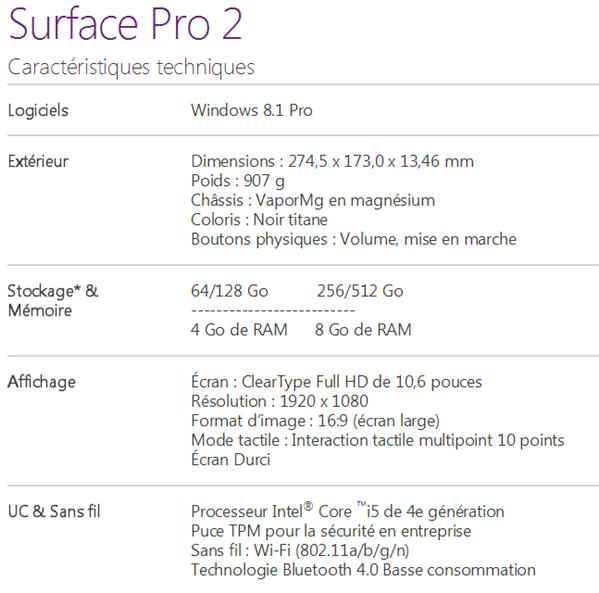 Surface 2 Pro caracteristiques