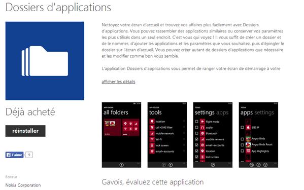 Nokia Dossier d'applications